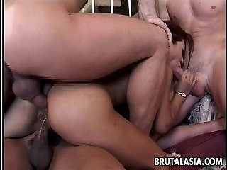 Exquisite Japanese brunette in a smutty foursome
