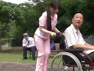 Subtitled Japanese half naked caregiver outdoors