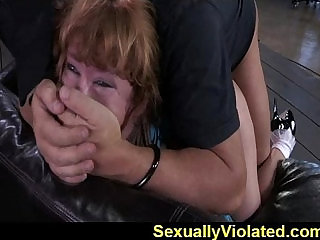 Redhead bounded to worship cock of