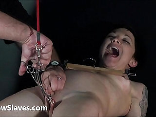 Asian Mei Mara brutal bdsm slave training and rough tit tortures of clamped
