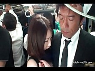 Cute asian babe gets tits and pussy