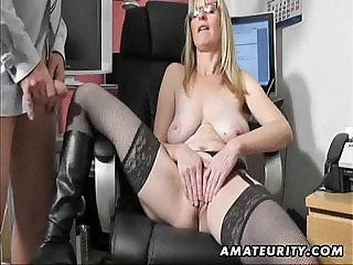 Busty blonde amateur blonde Milf sucks and fucks with cum on boots