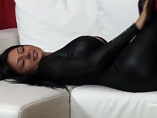 Sofia Cuccis solo in a latex dress