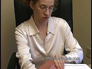 Busty Lactating Redhead at Work