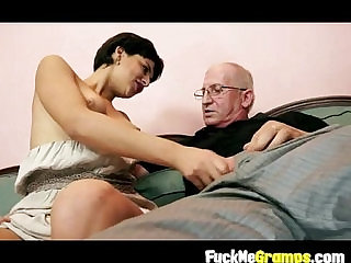 Teen giving old man hard penis