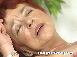 Hairy granny takes a lot big dick in her red haired old wet pussy till cum