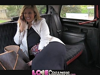 Love Creampie Busty naughty British mom lets taxi driver cum inside