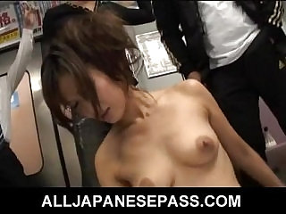 Shaved Japanese angel Asami Yoshikawa fucking on the subway