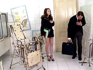 Secretary Mish Cross gets anal and creampie BDSM style
