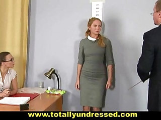 Humiliating nude job interview for shy blonde webcam girl