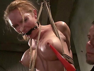 Hogtied sub gets pussy during this hot bdsm session