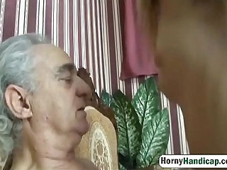 Horny old dick gets to fuck a younger slutty babe hi