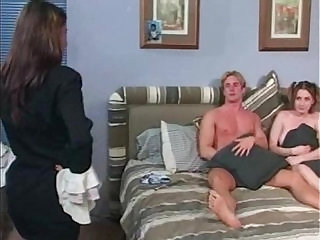 Mom Catches Babysitter Fucking and Joins In