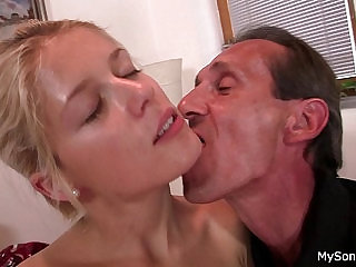 Old granpa nails blonde girl