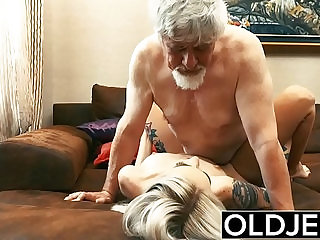 Old and Young Teen Blonde gets Fucked by Old man tight pussy cock licking