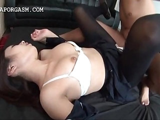 Asian schoolgirl nailed deep thru torn stockings