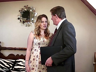 Teen cam girl gets facialed by an old man