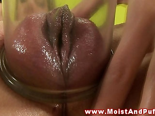 Teen pumps up her puffy peach with toy