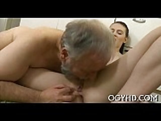 Youthful playgirl blows old dick