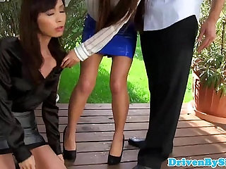 Glamour babes cumswap after cocksucking trio