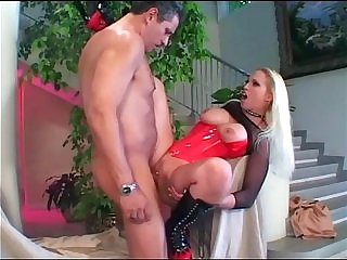 Big boobed blonde amateur babe fucked in boots and corset