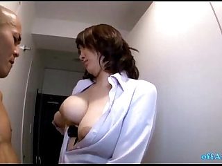Busty Office Lady Giving Handjob For Naked Skinny Guy On The Corridor