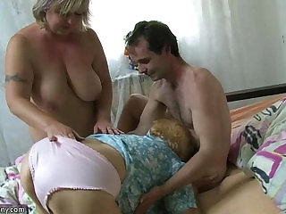 Very old chubby granny with her young guy OLDNANNY