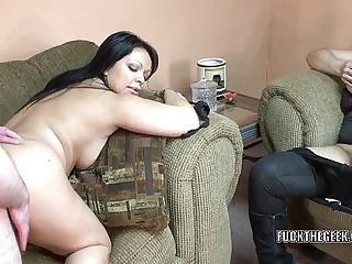 Latina housewife Valentina Lopez is banging a lucky geek