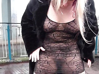 Sexy blonde Kaz flashing tits and milf public nudity of european exhibition