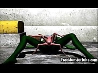 Green 3D babe gets her cunt fucked so hard by an alien spider