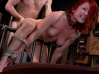 Redhead PAWG Sophia Locke is doggyfucked hard in rope bondage