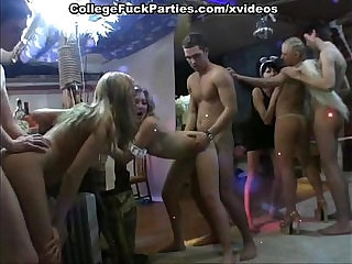 Costumed party turns into college with lavish cumshots