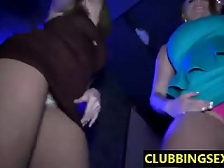 Hot clubbing girls flashing their sexy butts and naked bodies while dancing