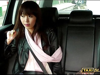 Asian Marica sucks on cock and drilled with pervert driver