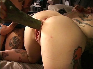 Two tattooed cuties fuck squirt w Frankensteins Monstercock Longest upload