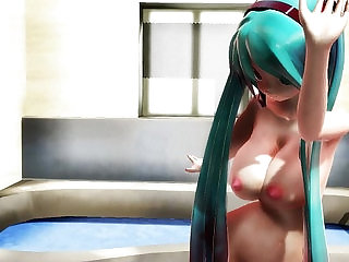 MMD BIG BOOBS NAKED MIKU in a bathroom