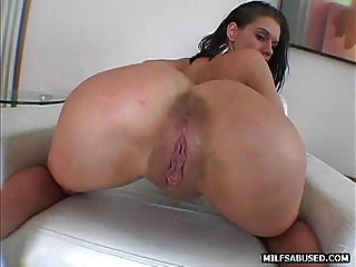 Brunette MILF playing with small tits and gets fucked