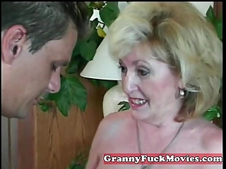 experienced Granny sucking penis