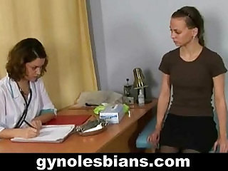 Lesbian gynecologist seduces young patient during gyno check