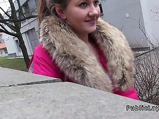 Natural Euro amateur sucking and fucking in public