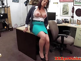 Busty amateur milf sucks a cock pov for cash