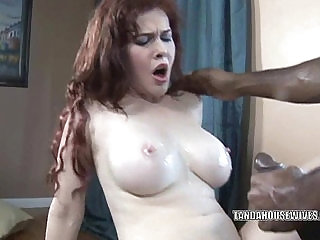 Busty housewife Mae Victoria takes some big black dick