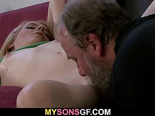 He finds his GF with his horny old dad