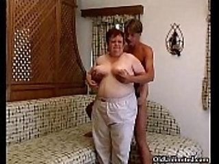 Old fat woman sucking hard in a