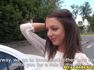 Hitchhiking Miranda Kerr look alike being throatfucked