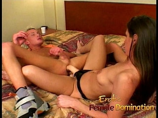 Saucy skinny brunette MILF rams a naughty tight ass