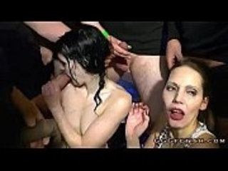 Girls gets cumshots and facials with golden showers