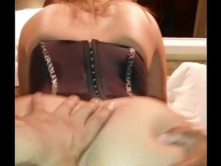 Wife rides and cuckold husband with her ass